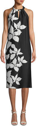 Trina Turk Roe Halter-Neck Savory Floral-Print Drapey Shift Dress
