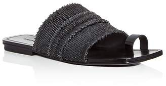 Sigerson Morrison Women's Abbe Textured Patent Leather Slide Sandals