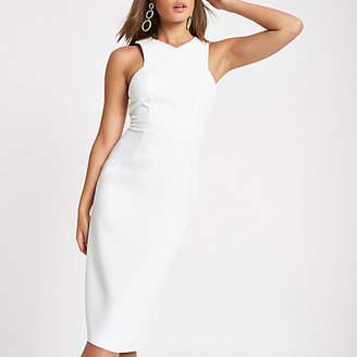 River Island Womens White cross high neck bodycon midi dress