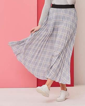 Fashion World Grey Check Sunray Pleat Maxi Skirt