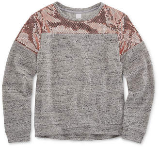 Total Girl Long Sleeve Fashion Sweatshirt with Sequins - Girl's 7-16 & Plus