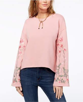 One Hart Juniors' Embroidered Bell-Sleeve Sweatshirt
