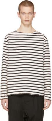 R 13 Black and White Long Sleeve Breton T-Shirt