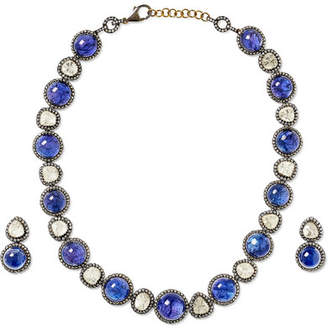 Amrapali 18-karat Gold, Sterling Silver, Diamond And Tanzanite Necklace And Earrings Set - one size