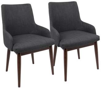 Lumisource Santiago Mid-Century Modern Dining / Accent Chair Charcoal Fabric Upholstery by Set of 2