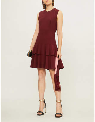 Alexander McQueen Peplum-skirt crepe mini dress