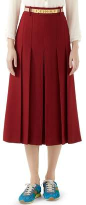 Gucci Logo Belt Pleated Midi Skirt