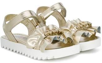 Cesare Paciotti 4Us Kids ruched logo strap sandals