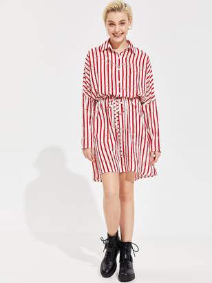 78af2ef697 Shein Striped and Chain Print Drawstring Waist Shirt Dress