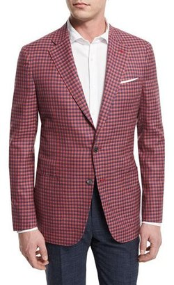 Isaia Check Two-Button Sport Coat, Red/Blue $2,795 thestylecure.com