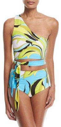 Emilio Pucci Fiore Maya One-Shoulder Two-Piece Bikini Set, Blue Pattern $530 thestylecure.com
