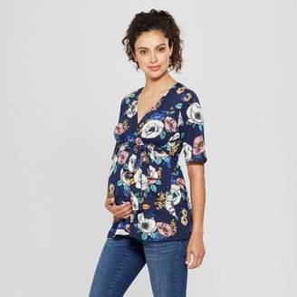MaCherie Maternity Floral Elbow Sleeve V-Neck Printed Top - Ma Cherie Navy