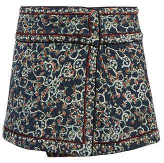 Etoile Isabel Marant Hanon Quilted Cotton Blend Mini Skirt - Womens - Black Print