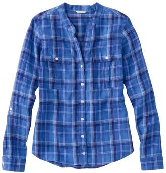 L.L. Bean L.L.Bean Women's Premium Washable Linen Roll-Tab Shirt, Long-Sleeve Plaid