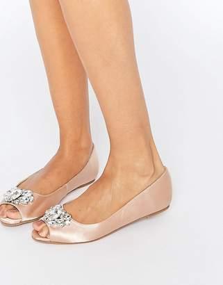 Asos DESIGN LADYBUG Embellished Peep Toe Ballet Flats