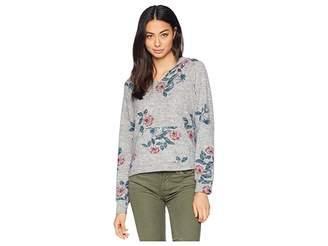 Pink Rose Raglan Hoodie w/ Kangaroo Pocket Branded Hem Top Women's Sweatshirt