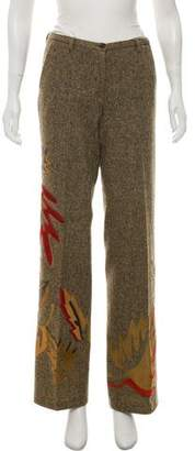 Dolce & Gabbana Tweed Pants w/ Leather Embroidery