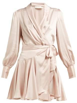 Zimmermann Silk Satin Wrap Dress - Womens - Pink