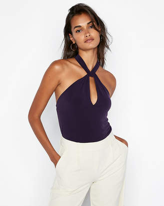 Express Twist High Neck Halter Tank