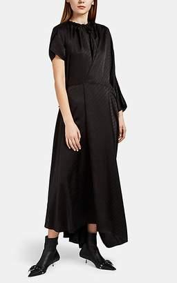 Balenciaga Women's Logo-Jacquard Satin Wrap Dress - Black