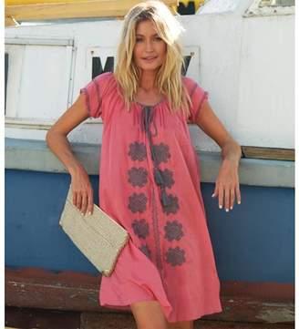Aspiga Charlotte Embroidered Cotton Dress Coral/Grey