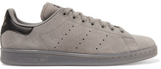 adidas Originals - Stan Smith Leather-trimmed Suede Sneakers - Gray $85 thestylecure.com