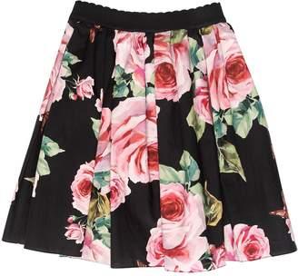 Dolce & Gabbana Roses Print Poplin Cotton Skirt