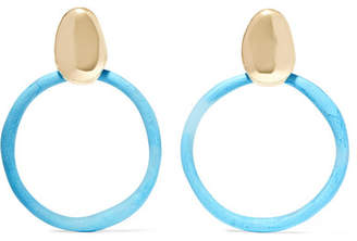 Dinosaur Designs Gold-tone And Resin Clip Earrings - Blue