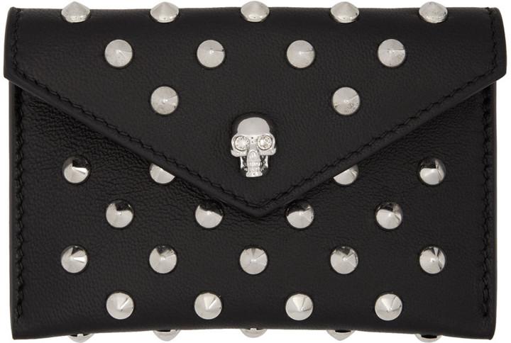 Alexander McQueenAlexander McQueen Black Skull Studded Envelope Card Holder