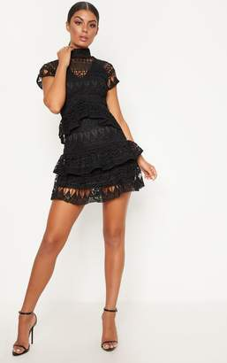 PrettyLittleThing Black Crochet High Neck Lined Frill Skater Dress