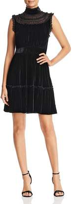 Kate Spade Velvet Lace-Trim Dress