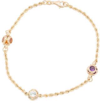 Made In Italy 14k Gold Multi Gemstone Station Bracelet