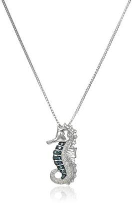 Sterling Silver and White Diamond Seahorse Pendant Necklace (1/10 cttw