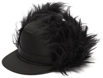 Prada Nylon And Mohair Baseball Cap - Womens - Black