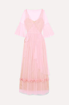 STAUD - Stella Bead-embellished Tulle Wrap Maxi Dress - Pink