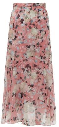 Erdem Shea Apsley Silk Skirt - Womens - Pink Print