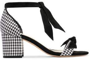 Alexandre Birman Clarita Suede-Trimmed Houndstooth-Jacquard Sandals