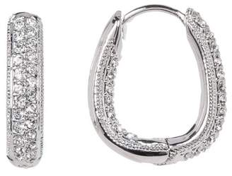 Nadri Crystal Pave Thin Huggie Earrings