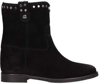 Julie Dee Black Suede Ankle Boots