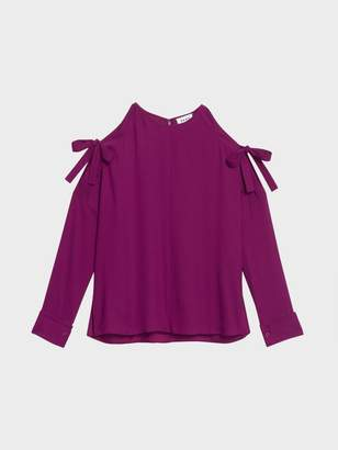 DKNY Cold Shoulder Tie Top