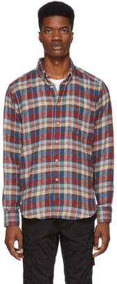 Naked & Famous Denim Denim Red and Beige Rustic Nep Flannel Easy Shirt