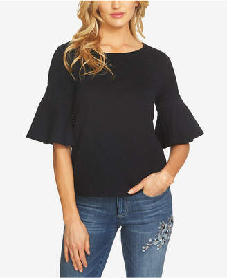 CeCe Textured Bell-Sleeve Top
