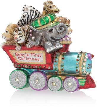 Jay Strongwater Baby's First Christmas Train Ornament
