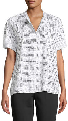 Donna Karan Polka-Dot Mandarin-Collar Button-Front Shirt