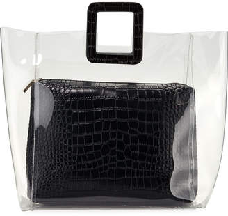 clear Staud Shirley PVC and Crocodile-Embossed Tote Bag