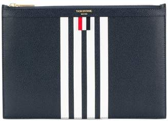 Thom Browne Small Zipper Tablet Holder (29.5x20cm) With Contrast 4-bar Stripe In Pebble Grain & Calf Leather