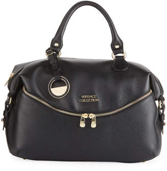 Versace Pebbled Leather Shoulder Tote Bag