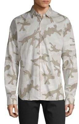 Valentino Camouflage Cotton Button-Down Shirt