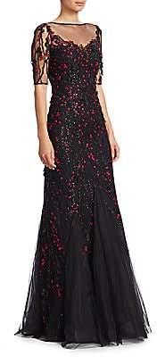 Teri Jon by Rickie Freeman by Rickie Freeman Women's Short-Sleeve Lace Appliqué A-Line Gown