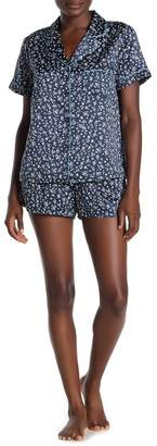 Jonquil In Bloom by Floral Short Sleeve Satin Top & Shorts Pajama 2-Piece Set